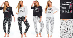 Ladies Jersey Pyjamas CITY BREAK Summer Long Sleeved Lounge Black White New York