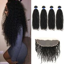 8A 400g/4bundles Unprocessed Brazillian Kinky Curly Human Hair With Lace Frontal