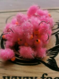 6 X EGGSTACY ORANGE EGG//BLOB FLY FISHING TROUT FLIES  SIZE 10 BARBLESS