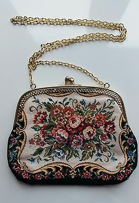 Black vintage velvet tapestry embroidered bag gold frame chain