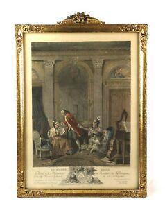 Antique-De-Launay-1800s-French-Art-Print-Gold-Gilt-Gesso-Frame-Fits-19-034-x-14-034
