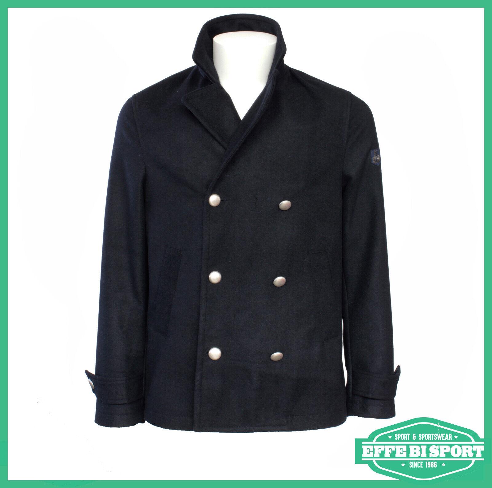 Dettagli su Giacca in panno doppio petto blu Armata di Mare cappotto corto uomo con bottoni