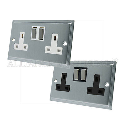 Wall Socket 2 Gang 13 Amp Double Plug Socket Satin Matt Chrome Flat Metal Rocker White Insert