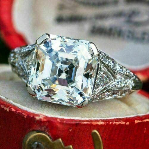 2.95Ct White Asscher Cut Diamond 14k White Gold Finish Art Deco Engagement Ring