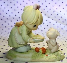 1997 Precious Moments YOU'RE JUST AS SWEET AS PIE Girl Figurine Pig Apple 307017