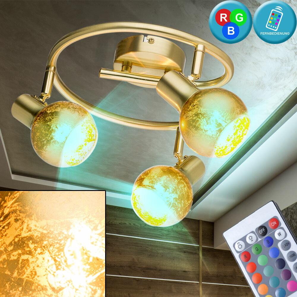 RGB LED Rondell Decken Lampe dimmbar Wohn Zimmer Messing Leuchte FERNBEDIENUNG