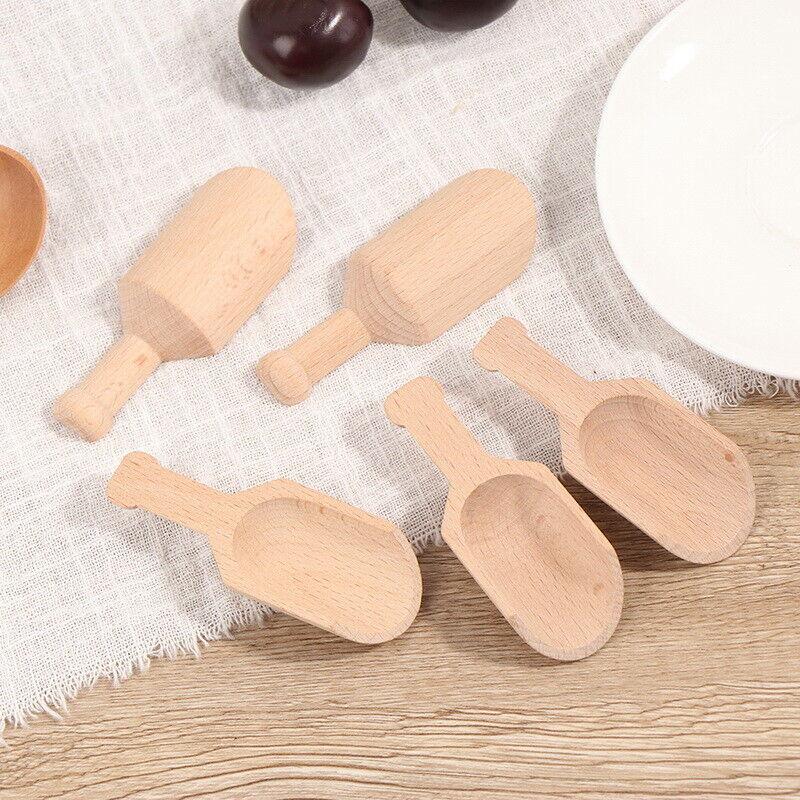 5Pcs Mini Wooden Scoops Bath Salt Spoon Candy Flour Spoon Scoops Kitchen BT