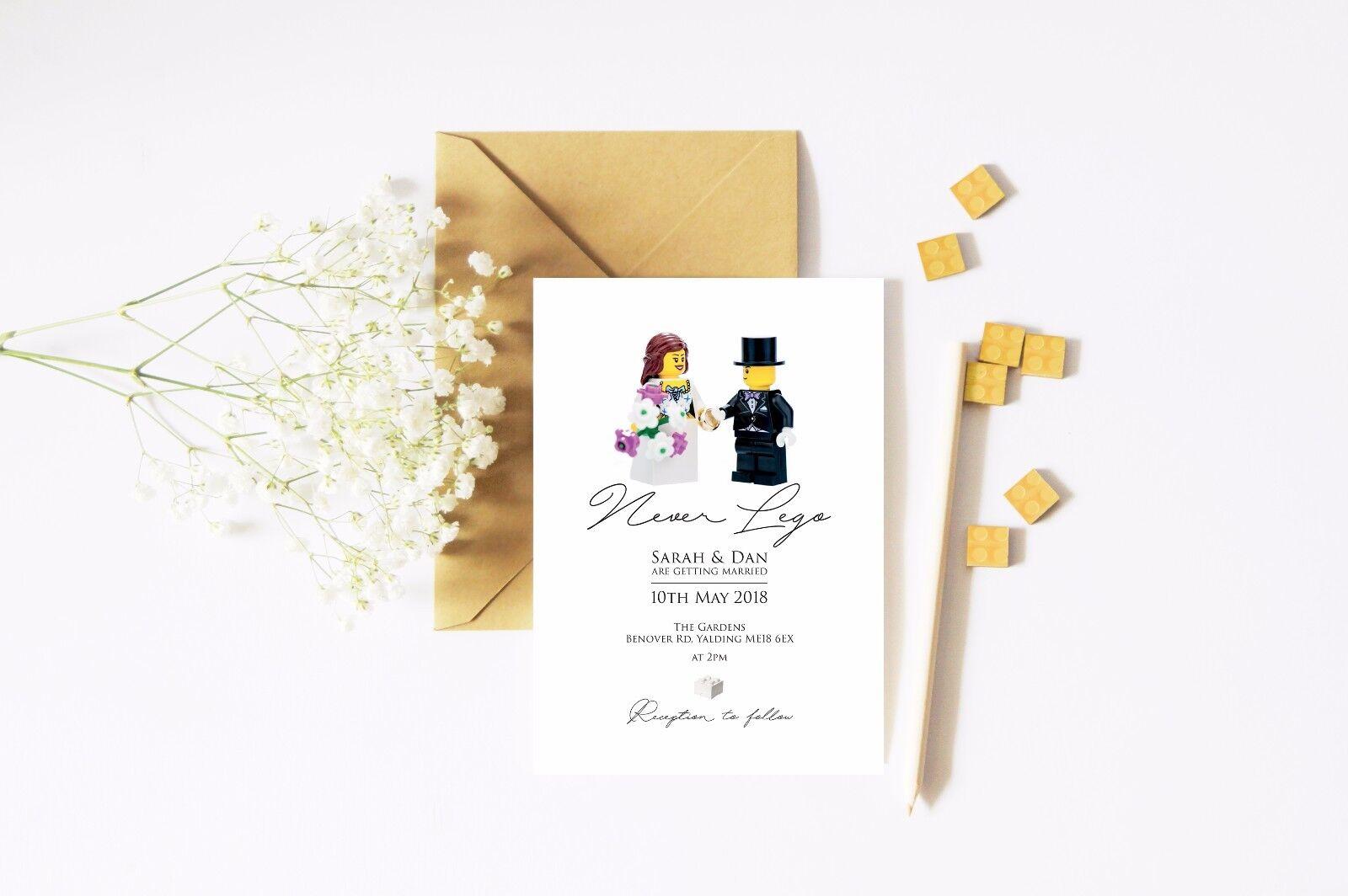 50  Never Lego  Lego Personalised Wedding Invitations