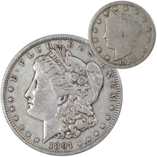 1891 $1 Morgan Silver Dollar VF Very Fine with 1907 Liberty Nickel Good