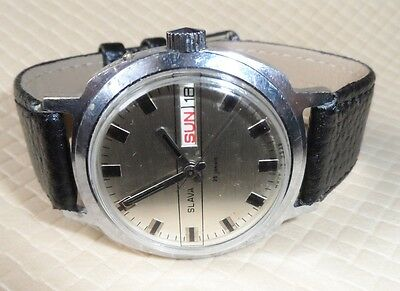 """Vintage Russian Watch """"SLAVA """" 26 RUBY 1980 Classic USSR ,Day &Date #2211142"""