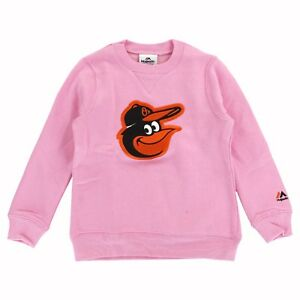 Baltimore-Orioles-MLB-Majestic-034-Our-Team-034-Pink-Crew-Neck-Sweatshirt-Girls-4-7