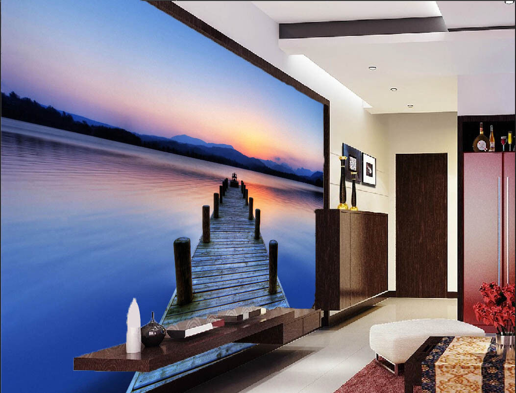 3D Sky Bridge Beach 8 Wallpaper Mural Paper Wall Print Wallpaper Murals UK Lemon