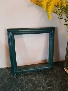 """Lovely Vintage Painted Oak Wood Frame Holds 5"""" x 5"""" Green Square"""