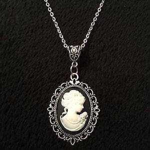 Vintage lady cameo pendant cabochon black necklace 24 steampunk la imagen se est cargando lady camafeo colgante cabujon vintage negro collar de aloadofball Gallery