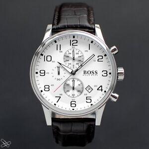 Hugo-Boss-1512447-Herrenuhr-Chronograph-Farbe-Braun-mit-Kroko-Lederpraegung