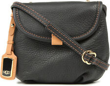 UGG Bag Classic Mini Flap Black Auburn Leather Crossbody NEW $165 retail