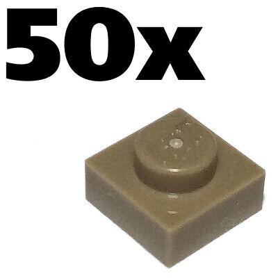 Tan Dark plate x 50-1x1 NEW LEGO PLATES 1 x 1