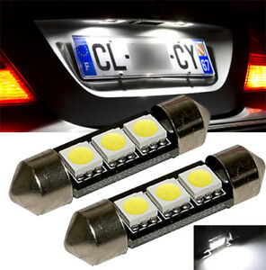 2-ampoules-a-LED-Lumiere-feux-de-plaque-Blanc-Golf-Passat-Touareg-Touran-Polo