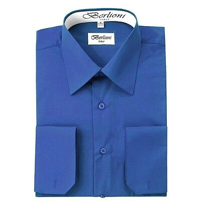 Berlioni Italy French Convertible Cuff Solid Mens Dress Shirt All Colors & Sizes