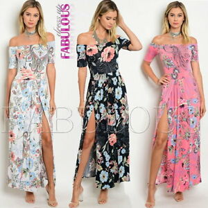 New-Floral-Latina-Off-Bare-Cold-Shoulder-Maxi-Summer-Dress-Size-6-8-10-XS-S-M