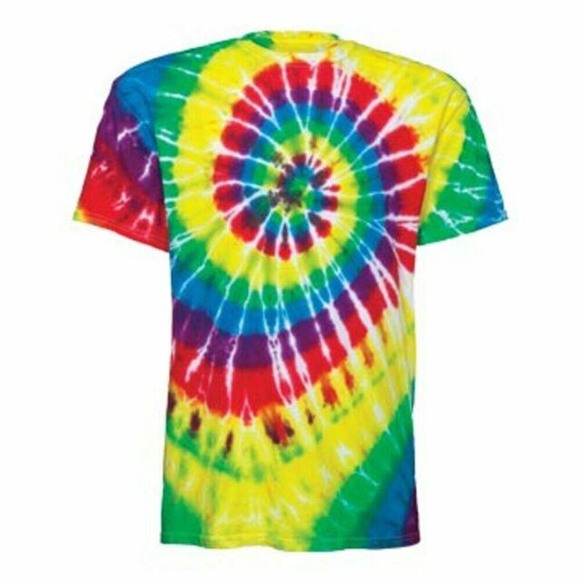 Dyenomite Multi-Color Spiral Tie Dye T Shirt Mens Womens EDM Hippie Stoner 200MS