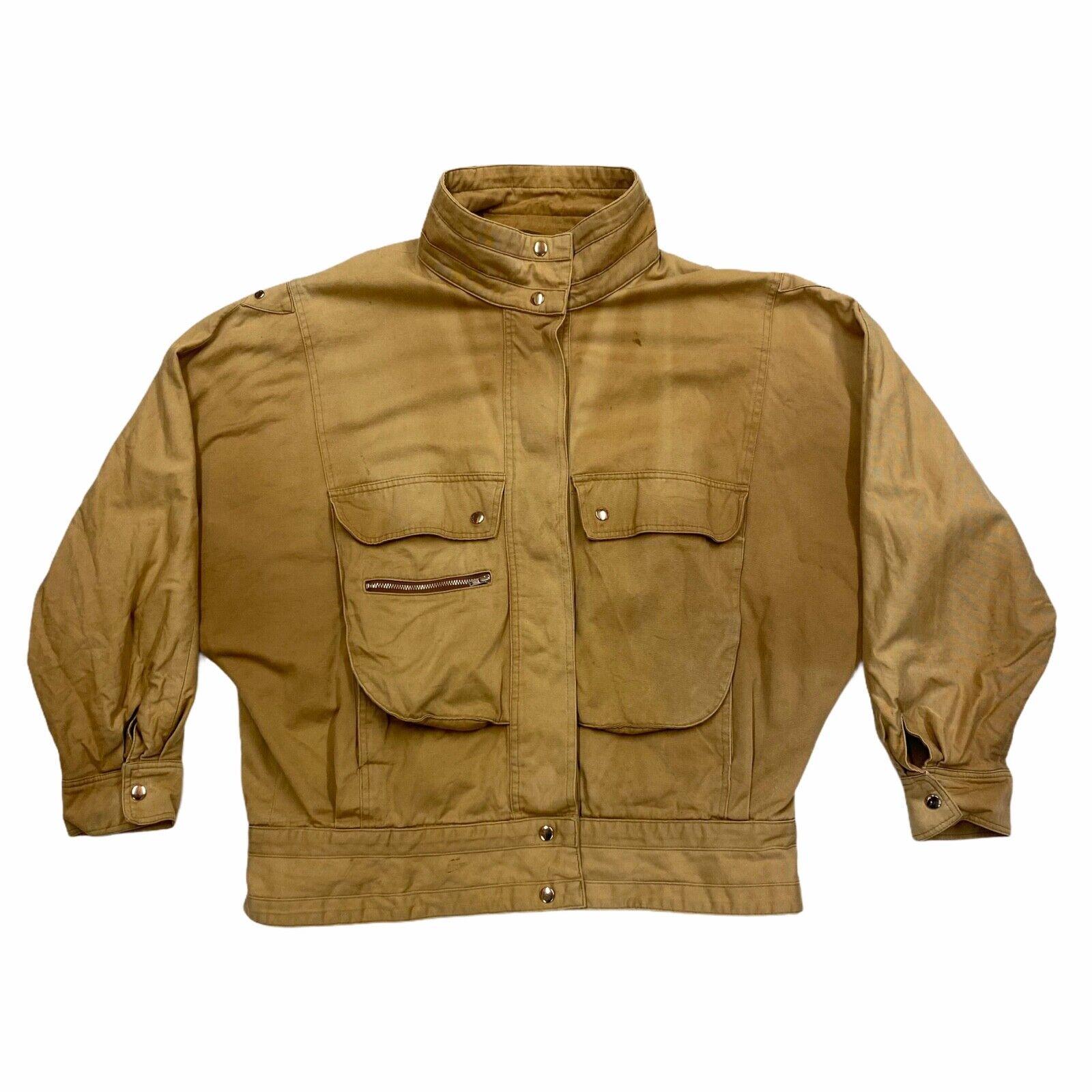 Betty Barclay Women's Cotton Jacket | Vintage High End Designer Tan Brown VTG