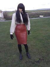 Faux  Leather pvc tan pencil skirt