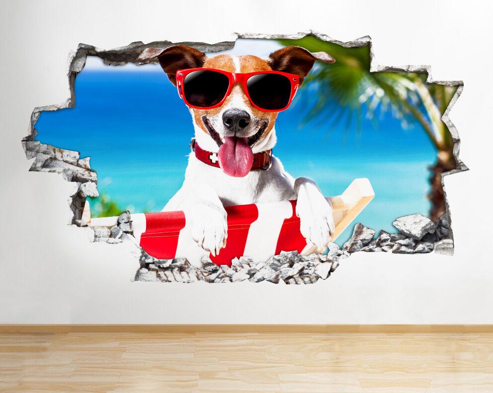 Q583 Dog lunettes de soleil cool Sun drôl Autocollant Chambre 3D Vinyle enfants