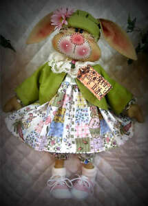 "~Primitive Raggedy Bunny~""Daisy McTulip""~PATTE<wbr/>RN #206~Ginger Creek Crossing"