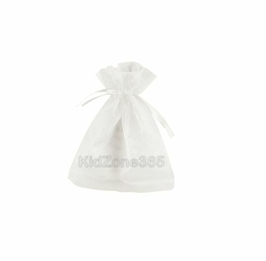 Baby Shower Blue Pink White Organza Bags Pouch Favour Gift Bags 7.5x10cm New