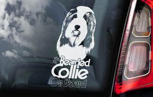 Barbuto-Collie-On-Board-Auto-Finestrino-Adesivo-Highland-Mountain-Cane-V02