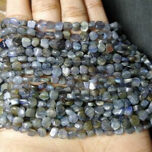 14 Inch Strands,Natural   AAA Blue Fire Labradorite Smooth Tyre Shape Beads 5-6mm size,
