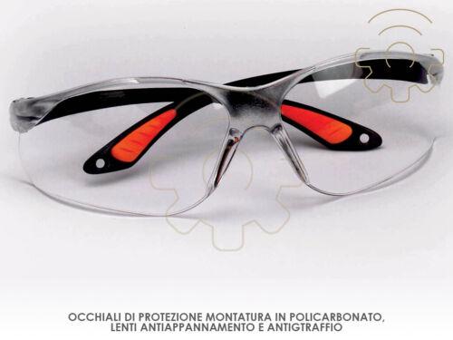 Occhiali di protezione montatura policarbonato lenti antiappannamento antigraffi
