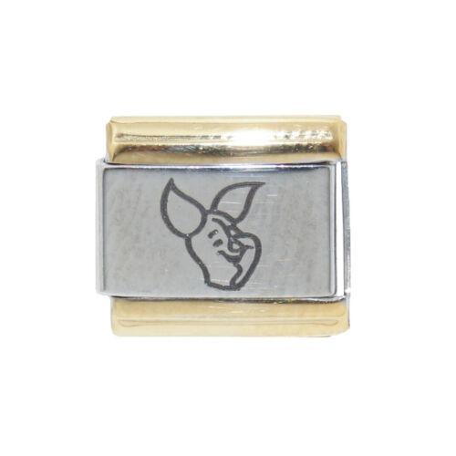 Lechón Contorno de oro brillante encanto italiano-se adapta a 9mm italiana pulseras