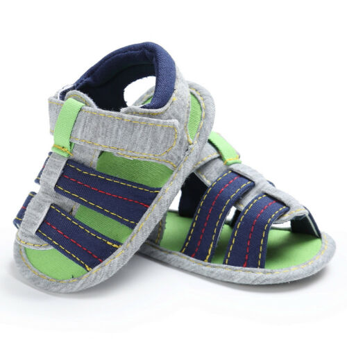 Toddler Kids Baby Boys Canvas Soft Sole Crib Sneakers Newborn Sandals Shoes NEW