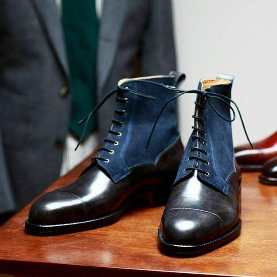 Men Latest Unique Versatile French Real Leather & Suede Boots, bottes men