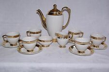 Art Deco Grimwades Royal Winton 15 Piece Ribbed White Gold Lustre Coffee Set