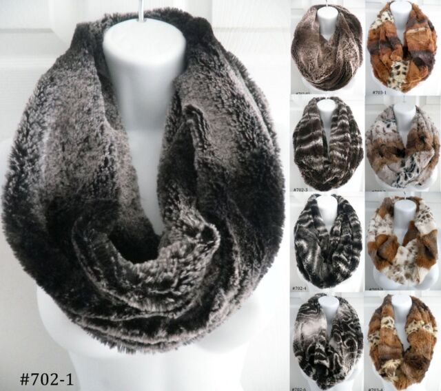 women winter warm soft faux fur one circle loop cowl thick infinity scarf snood