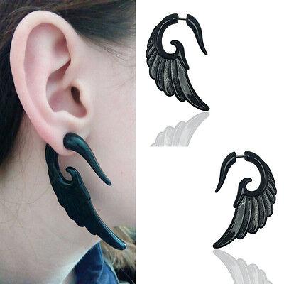 1 Pair Fashion Resin Wing Ear Plug Expander Spiral Gauges Black Body Piercing