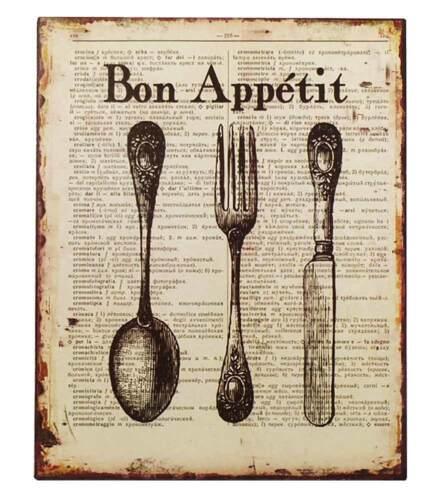 Nostalgie Blechschild Bon Appétit Besteck Dekoschild Vintage 25x20cm