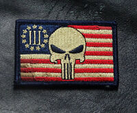 Three 3% Percenter Subdued Punisher 2nd Amendment Nra Militia Hook Patch