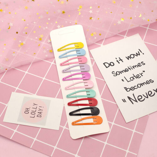 Cute 10//14Pcs Candy Color Girl Kids Hairpin BB Snap Hair Clips Hair Accessories
