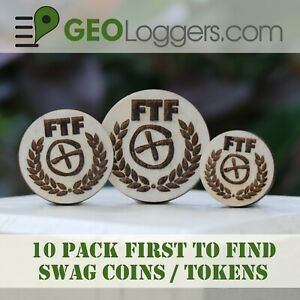 NEW-10-x-Wooden-FTF-First-to-Find-Geocache-Prize-Swag-Coins-10-Pack