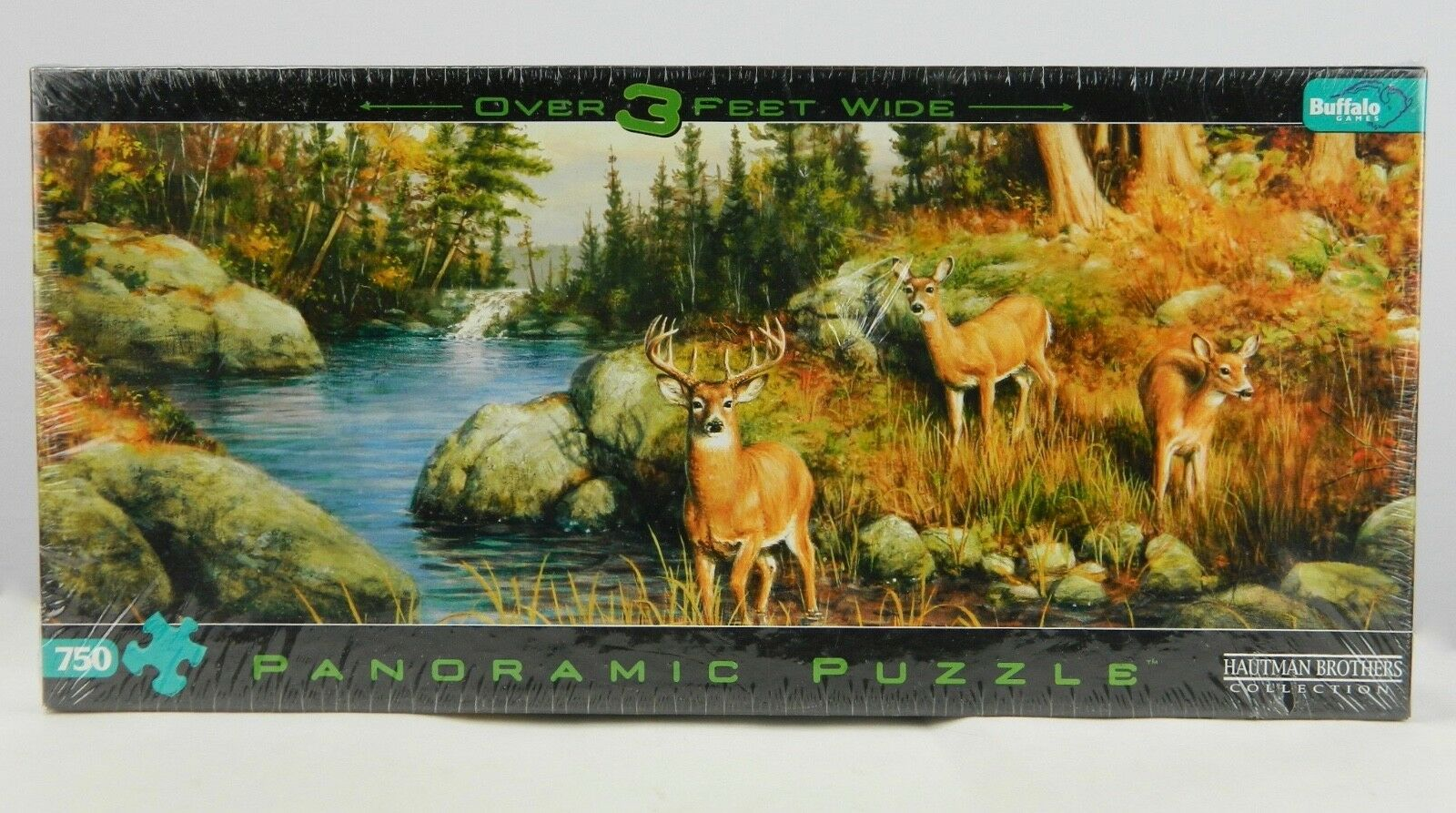 Hautman Brothers Deer & Pines Panoramic 750pc Jigsaw Puzzle Buffalo Games Nuovo