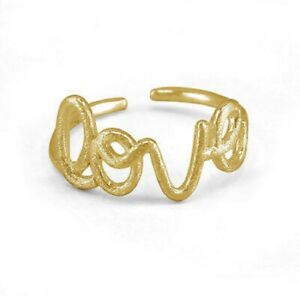 Lovely-14K-Yellow-Gold-Plated-Love-Ring-Adjustable-Toe-Ring-For-Women-039-s