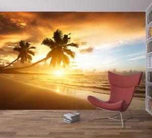 Details zu Beach Tropical Tree Sea Sunset Photo Wallpaper Wall Mural Home  Bedroom Deco