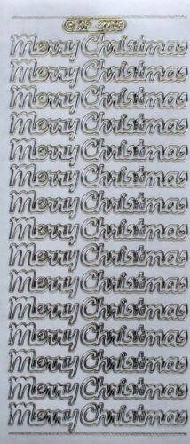 Embossed on Clear MERRY CHRISTMAS Transparent PEEL OFF STICKERS Cursive