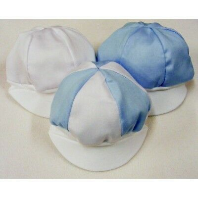Blue Pique Cotton Cap Hat NEW Baby White SUMMER Made in UK 0-6 MONTHS