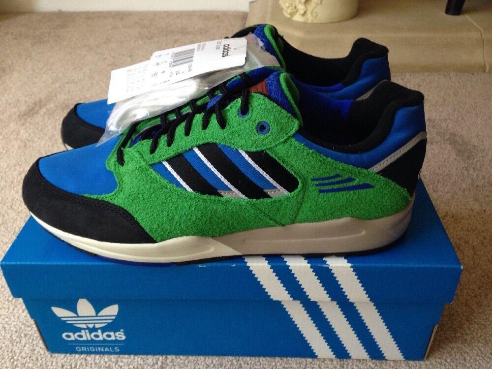 Retro Adidas Tech Super Vert Bleu Noir Football Casuals Taille 8 80 s 90 s-