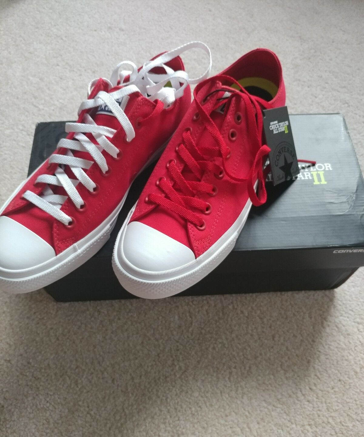 Converse Chuck Taylor All Star UK10 II 2 ROT Niedrig UK10 Star Euro44 NEW IN BOX e4f39b